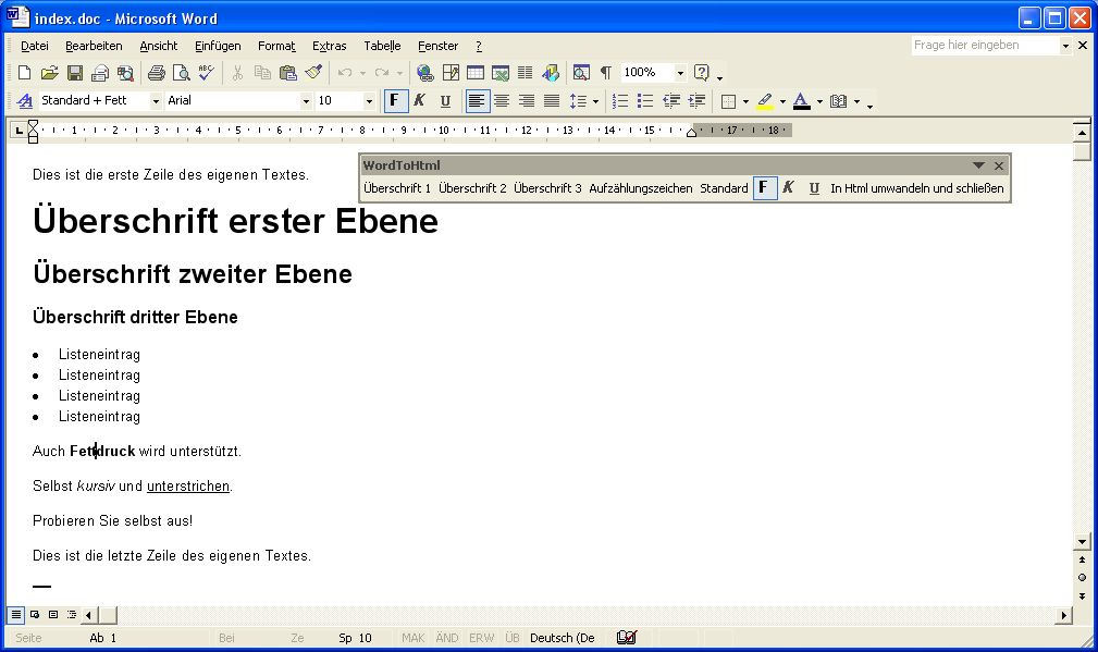 Screenshot des Word-Dokumentes